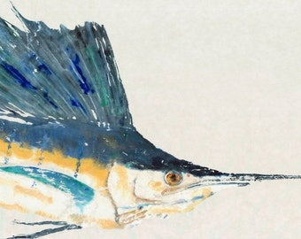 "Sailfish - ""Sail On"" - Gyotaku Fish Rubbing - Limited Edition Print (33 x 20.3)"