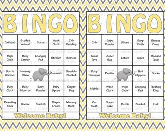30 baby shower bingo cards printable party baby boy 30 baby shower bingo cards printable gender neutral instant download yellow gray elephant solutioingenieria Choice Image