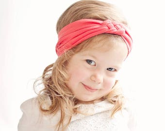 Headband, Celtic Knot Headband, Headbands, Baby Headbands, Turban Headband, Top Knot, Head Wrap, Infant Headband, Baby Gift - Coral