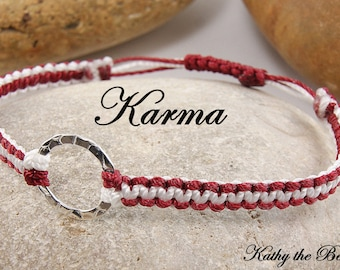Karma Bracelet - Red and White Sterling Silver Macrame Karma Circle Bracelet - KTBL