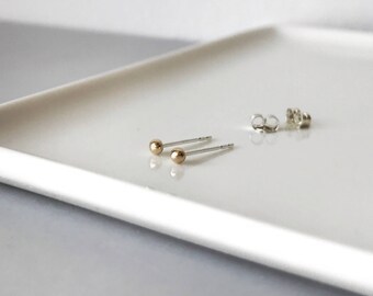 Tiny 14k solid gold dots studs with silver posts - Teeny tiny sterling yellow gold ball studs earrings - minimalist jewelry - everyday wea