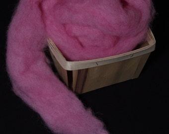 Hand-dyed wool roving for spinning,  felting or needle-felting AZALEA