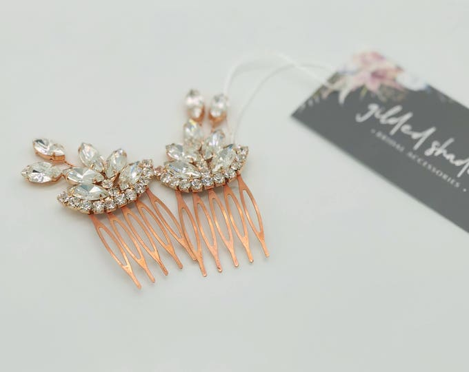 Rose Gold Crystal Hair Combs, Rose Gold Hair Accessories, Wedding Headpiece, Bridal Hair Combs, Vintage Style Hairpiece, Wedding Hair Piece