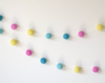 Aqua Mint Yellow Pink Felt Ball Garland, Nursery Decor, Birthday Bunting, Girl Party Decor, Baby Shower Gift, Girl Room Decor, Easter Spring