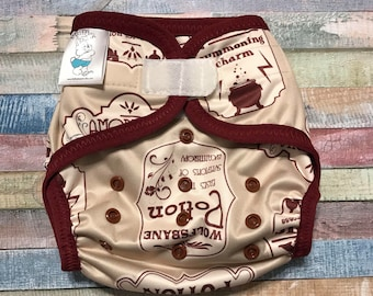 Potions Polyester PUL Cloth Diaper Cover With Aplix Hook & Loop Or Snaps You Pick Size XS/Newborn, Small, Medium, Large, or One Size