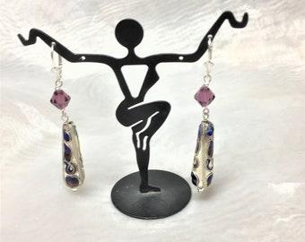 Teardrop Cloisonne Amethyst Crystal Cobalt SS Dangle Drop Earrings #611