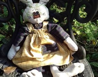 Vintage linen primitive rabbit art doll