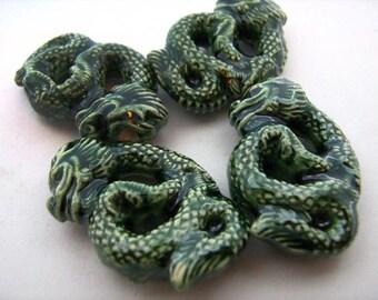 10 Large Ceramic Beads Green Chinese Dragon Pendants - LG435