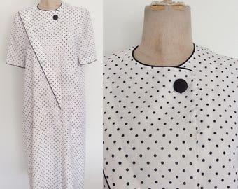 1980's Black & White Polka Dot Shift Dress Size Large XL by Maeberry Vintage