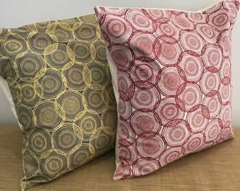"Aboriginal Fabric Brown and Yellow Circle Design cushion cover throw pillow. 18"" (45cm). Made Australia. Cushion covers Australia"