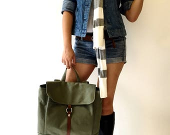 Olive green Canvas Unisex Satchel Backpack ,School laptop Bag,Travel Tote, Leather strap diaper bag  / Sale 25% - no.102 -TANYA