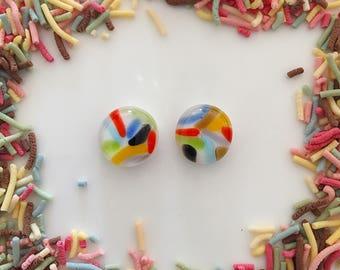 Sprinkles Fused Glass Stud Earrings