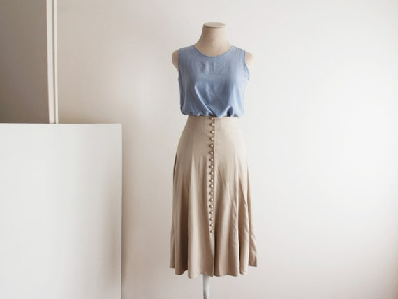 Button Front Long Skirt / Fitted Long Flare Skirt / High Waisted Flared Skirt / Viscose / Grayish Beige / French Vintage / Size Xs 34 by Etsy