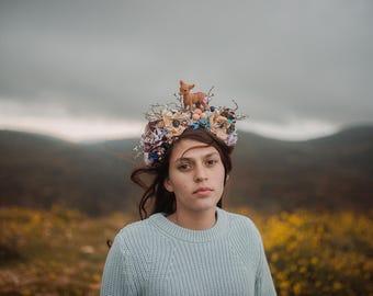 a floral bambi headpiece. statement headpiece. wedding hair crown. winter headpiece. Winter wedding headband. head pieces. deer headpiece.