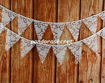 3.2M 12 flags Wedding Bunting Party Bridal Shower Decoration Photo Prop Cream Lace Fabric Garland Vintage Room Decor