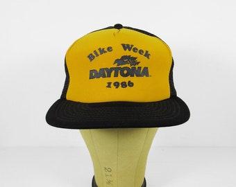 Vintage Daytona Bike Week Hat 1986 Snapback Black Yellow Brim Cap