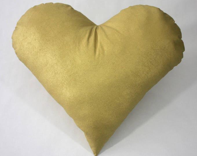 Gold heart pillow--Modern pillow--Heart nursery pillow