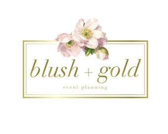 Logo design, Floral Logo, Rose Logo, Shabby Chic Logo, Boho Logo, Florist Logo, Wedding Logo, Business Logo, Photography Logo, Gold Logo