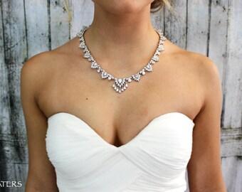 Bridal Necklace, Wedding Cubic Zirconia Jewelry Set, Wedding Necklace, Bridal Statement Jewelry