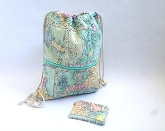 Mochila, mapa, mochila saco, mochila joven, tela mapa, regalo, verde mint, bolsa playa, bolsa gimnasio, monedero, cordón, mujer, rosa