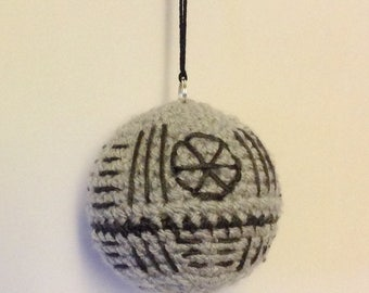 Death Star inspired crochet bauble ornament for Star Wars fans!