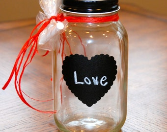 Quart size Mason Jar with Heart Shaped Chalkboard Label, Black Lid and Chalk