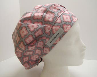 Blush Pink and Gray bouffant scrub hat, OR nurse, surgical tech, vet tech, chef