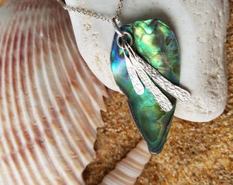 Ocean Swim Abalone Pendant Necklace-OOAK-Sterling Silver-Green-Natural Abalone Shell-Pendants on Chain-Fair Trade