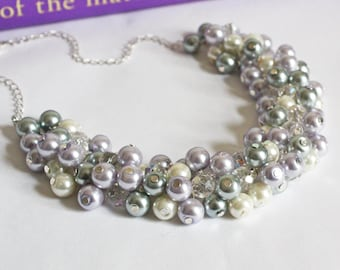 Gray Ivory Purple Cluster Necklace Pearl Necklace Bridesmaid Gift Bridesmaids Gray and Lilac Necklace Lilac Necklace