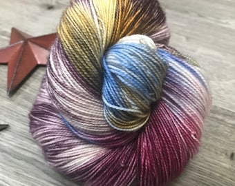 STAINED GLASS, hand dyed yarn 80/20 BFL, superwash Bluefaced Leicester wool nylon fingering, purple, aubergine, gold, yellow, berry, blue