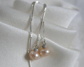 Threaders Freshwater pearl earrings Ohrdurchzieher Earrings Silber925
