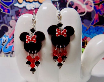 Minnie Mouse Red Polka Dot Bow Dangle Earrings