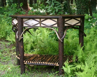 Rustic Furniture, Hickory Rustic Entry Table, Foyer, Antler Birch Bark, Cabin Furniture, Lodge Antler Table, Custom Furniture, Living Room