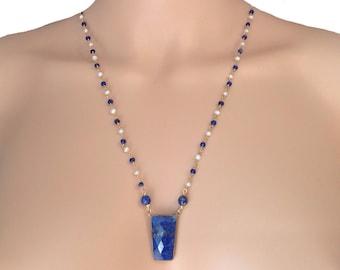 Blue lapis necklace - Lapis lazuli necklace - Blue bead necklace -  Lapis pendant necklace - Blue gemstone necklace - Sapphire bead necklace