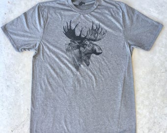 jätti Tri Blend T shirt Vintage Moose Print, gray, medium **free shipping**