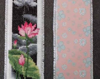 Lotus Flower bookmark with cross stitch