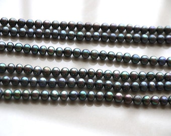 Black freshwater pearl string, dyed treated colored DIY 6.0 to 7.0mm,off round,AA,15 inches,wholesale, pearl supplier