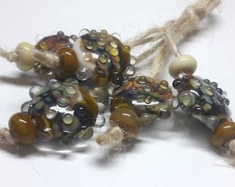 Lampwork beads handmade Beads supplies jewelry Beads for jewelry making Murano beads Set beads Beads SRA Beads mustard brown,yellow, silver.