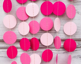 Pink paper garland, Pink wedding garland, Pale pink bridal shower, Flamingo party garland, Pink birthday garlands, Pink baby shower