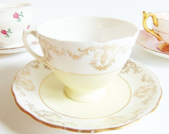 Royal Vale Ridgway Potteries Pale Yellow Classic Tea Cup and Saucer Vintage