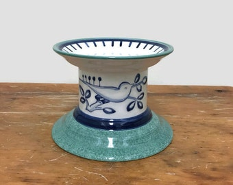 Vintage Pillar Candleholder - Villeroy & Boch Switch - Blue Bird - Ceramic