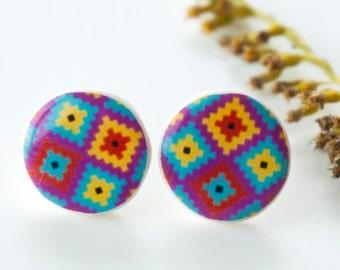 Earrings Stud, Small Tribal Earrings, Ornament Stud Earrings, Tiny Post Earrings, Everyday Stud, Colorful Stud Earings, Stud Earrings