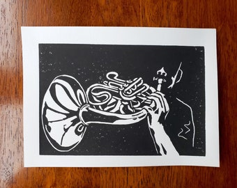 French horn player linocut art print 5x7