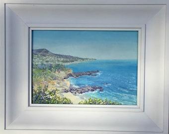 "South Laguna Beach - Treasure Island, an original impasto oil painting by Yoko Collin,  canvas, 7""x5""オリジナル風景油彩原画"