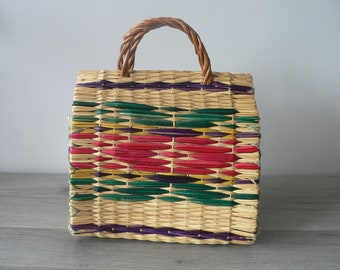 Tribal Boho Woven Handbag - Colorful  Straw Purse -