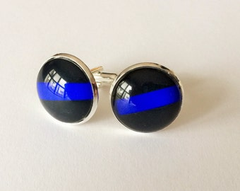 Thin Blue Line  CUFFLINKS / Police Cuff Links / Personalized Gift for Him / Law Enforcement  / Police Officer gift