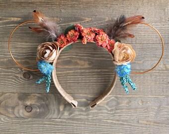 Pocahontas Ears/ Wire Minnie Ears/ Disney Ears/ Feather Headress