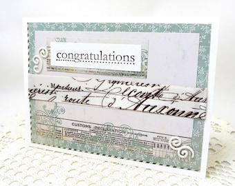 Congratulations Card - French Vintage - White and Turquoise Card - Vintage French Style - Turquoise and Brown Card - Elegant Card