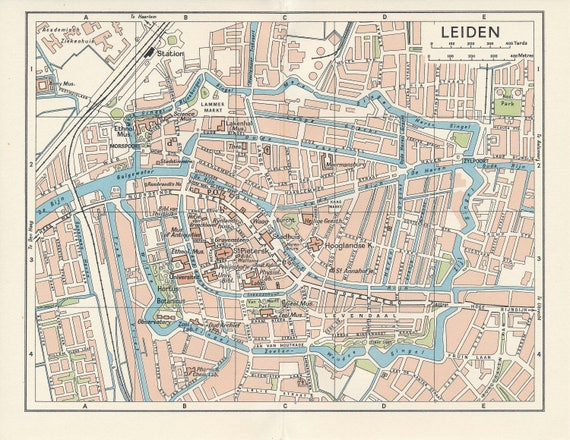 1961 Leiden Netherlands Holland Vintage Map