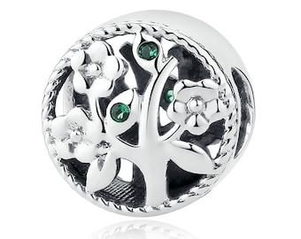 Gem Flower Tree 925 Sterling Silver Charm Bracelet Bead (Fits Pandora and European Bracelets)